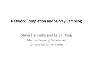 Network Completion and Survey Sampling