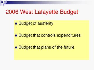 2006 West Lafayette Budget