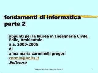 fondamenti di informatica  parte 2