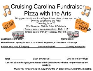 Cruising Carolina Fundraiser Pizza with the Arts