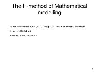 The H-method of Mathematical modelling