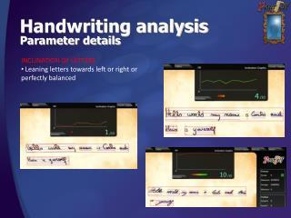 Handwriting analysis Parameter details