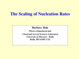 The Scaling of Nucleation Rates