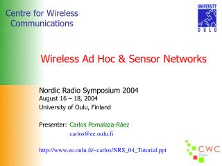 Wireless Ad Hoc & Sensor Networks