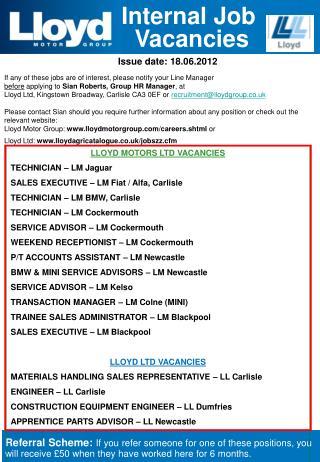 Internal Job  Vacancies