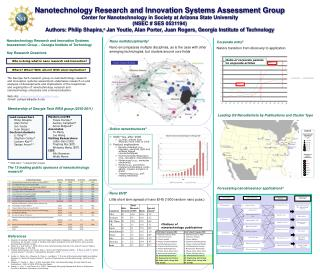 Nanotechnology Research and Innovation Systems Assessment Group Center for Nanotechnology in Society at Arizona State