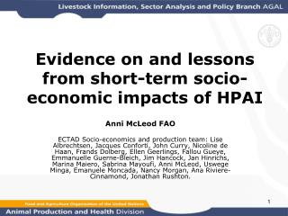 Evidence on and lessons from short-term socio-economic impacts of HPAI
