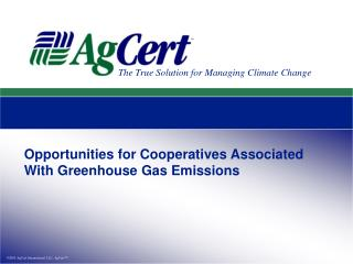 Opportunities for Cooperatives Associated With Greenhouse Gas Emissions