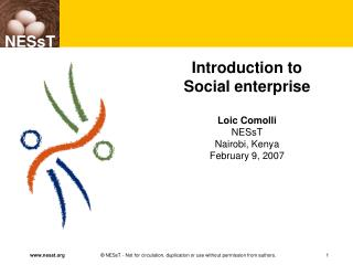 Introduction to  Social enterprise Loic Comolli NESsT Nairobi, Kenya February 9, 2007