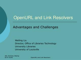 OpenURL and Link Resolvers