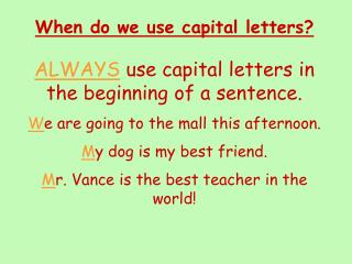 When do we use capital letters?