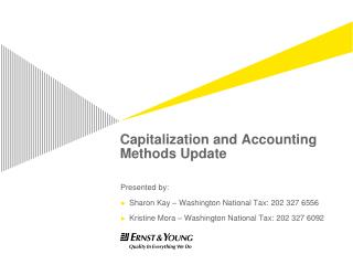 Capitalization and Accounting Methods Update