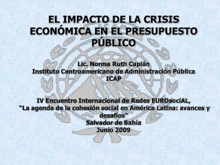 EL IMPACTO DE LA CRISIS ECONÓMICA EN EL PRESUPUESTO PÚBLICO