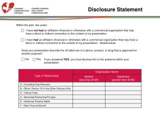 Disclosure Statement