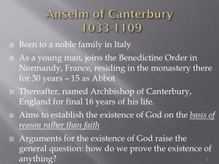 Anselm of Canterbury  1033-1109