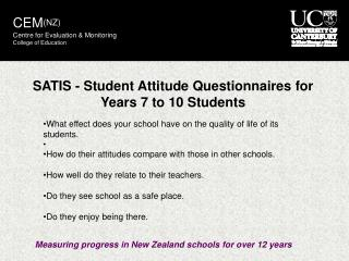 SATIS - Student Attitude Questionnaires for Years 7 to 10 Students