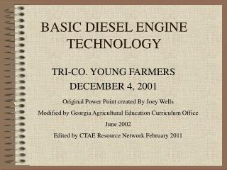 BASIC DIESEL ENGINE TECHNOLOGY