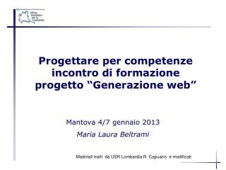 """Progettare per competenze incontro di formazione  progetto """"Generazione web"""""""