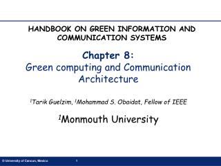Chapter 8:  Green computing and Communication Architecture