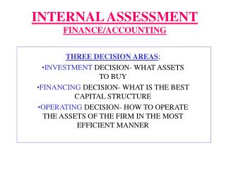 INTERNAL ASSESSMENT FINANCE/ACCOUNTING