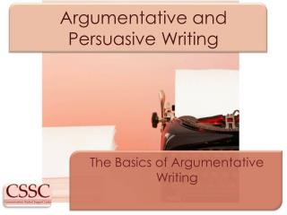 Argumentative and Persuasive Writing