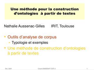 Une méthode pour la construction d'ontologies  à partir de textes