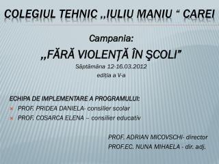 """COLEGIUL TEHNIC ,,IULIU MANIU """" CAREI"""