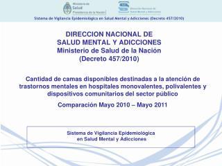 DIRECCION NACIONAL DE  SALUD MENTAL Y ADICCIONES Ministerio de Salud de la Nación (Decreto 457/2010)