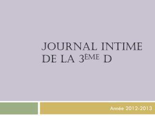 Journal intime  de la 3 ème  d