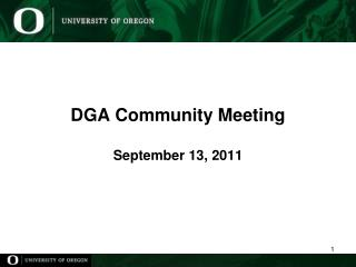 DGA Community Meeting September 13,  2011