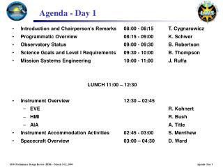 Agenda - Day 1