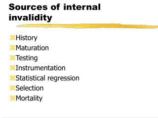 Sources of internal invalidity