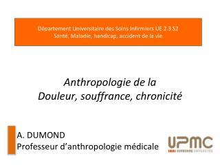 Anthropologie de la Douleur, souffrance, chronicité A. DUMOND Professeur d ' anthropologie médicale