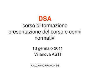 DSA corso di formazione presentazione del corso e cenni normativi