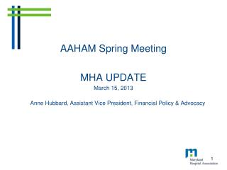 AAHAM Spring Meeting MHA UPDATE March 15, 2013 Anne Hubbard, Assistant Vice President, Financial Policy & Advocacy