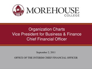 Organization Charts Vice President for Business & Finance Chief Financial Officer