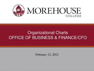 Organizational Charts OFFICE OF BUSINESS & FINANCE/CFO