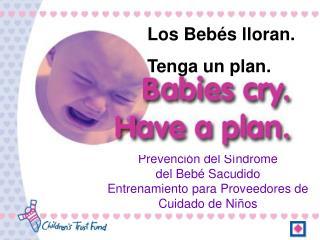 Prevención del Síndrome                del Bebé Sacudido Entrenamiento para Proveedores de Cuidado de Niños