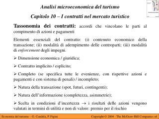 Analisi microeconomica del turismo Capitolo 10 – I contratti nel mercato turistico