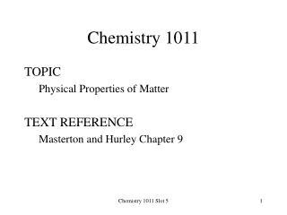 Chemistry 1011