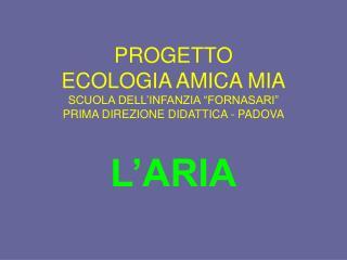 PROGETTO ECOLOGIA AMICA MIA SCUOLA DELL INFANZIA  FORNASARI  PRIMA DIREZIONE DIDATTICA - PADOVA