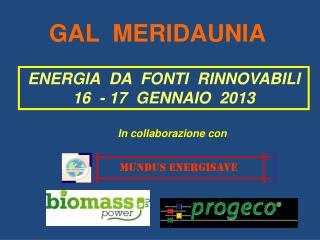 ENERGIA  DA  FONTI  RINNOVABILI 16  - 17  GENNAIO  2013