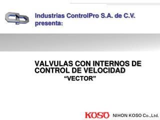 """VALVULAS CON INTERNOS DE CONTROL DE VELOCIDAD  """"VECTOR"""""""