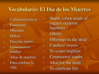 Vocabulario: El  Día de los Muertos