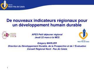 De nouveaux indicateurs régionaux pour un développement humain durable APES Petit déjeuner régional Jeudi 22 mars à la