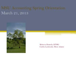 MSU Accounting  Spring Orientation March 21, 2013