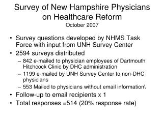 Survey of New Hampshire Physicians  on Healthcare Reform October 2007
