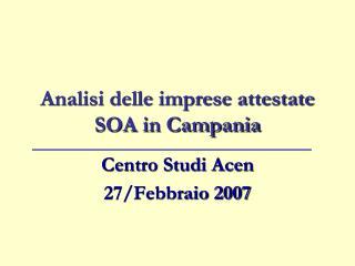 Analisi delle imprese attestate SOA in Campania