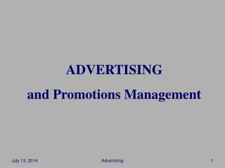 ADVERTISING and Promotions Management