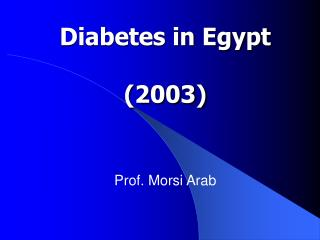 Diabetes in Egypt (2003)